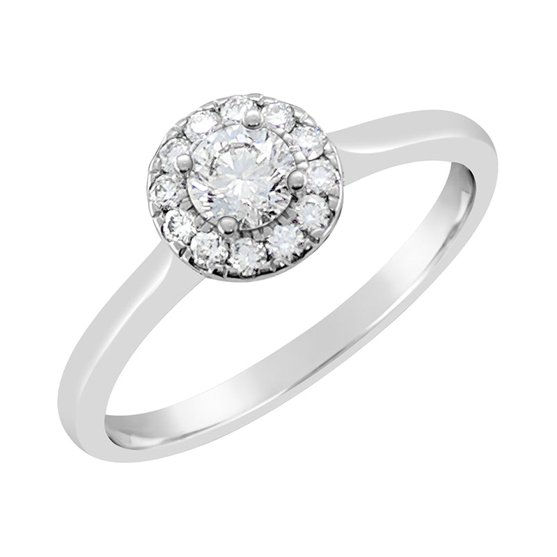 9ct White Gold Round Brilliant Halo