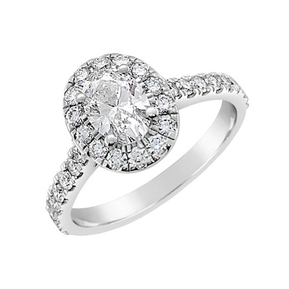 Platinum Oval Halo with Diamond Set Band