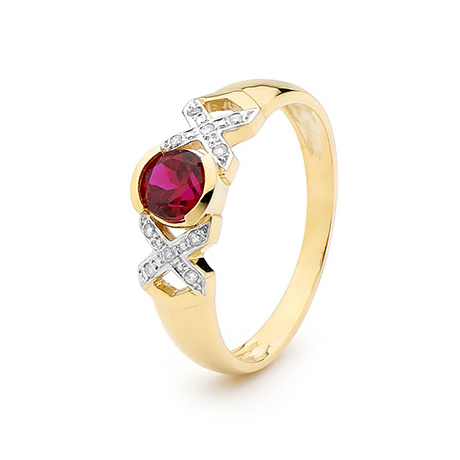 9ct Created Ruby & Diamond Ring