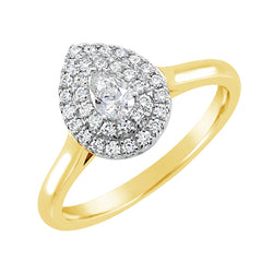 9ct Yellow Gold Pear Double Halo Ring