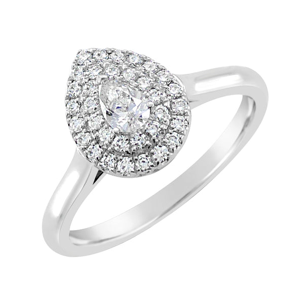 9ct White Gold Pear Double Halo Ring