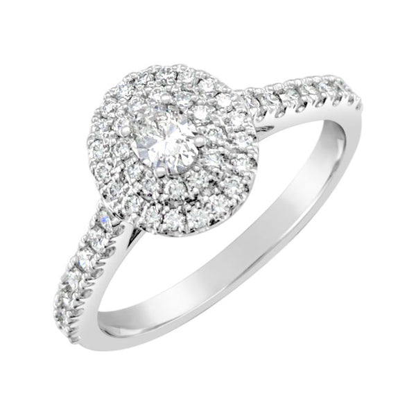 9ct White Gold Oval Double Halo Ring