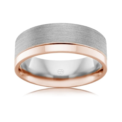 9ct White & Rose Gold Gents Ring