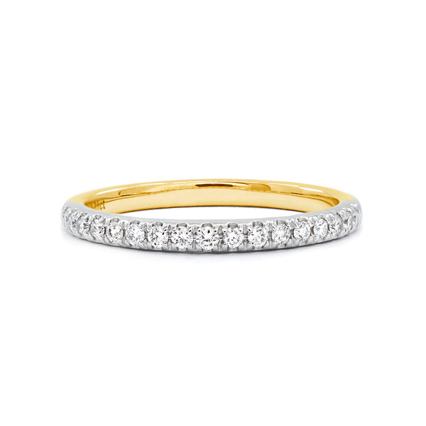 Two-Tone Gold Claw-Set Diamond Band - 0.17ct