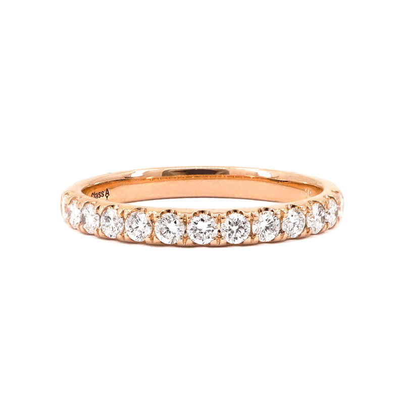 Rose Gold Claw-Set Diamond Band - 0.39ct