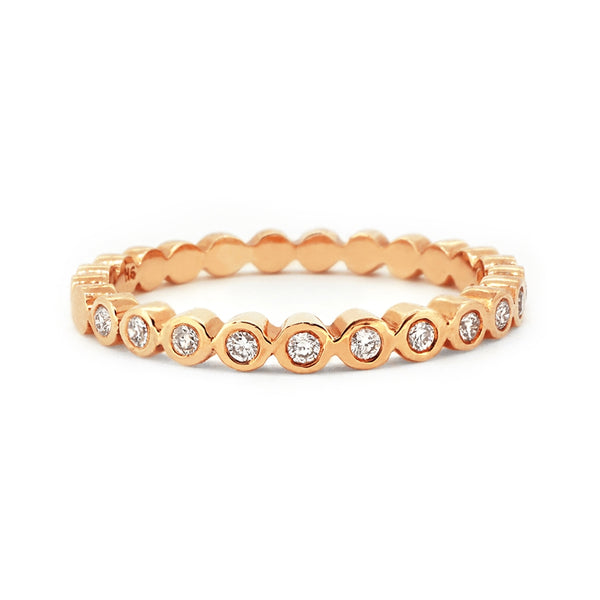 9ct Rose Gold Bezel Set Diamond Band
