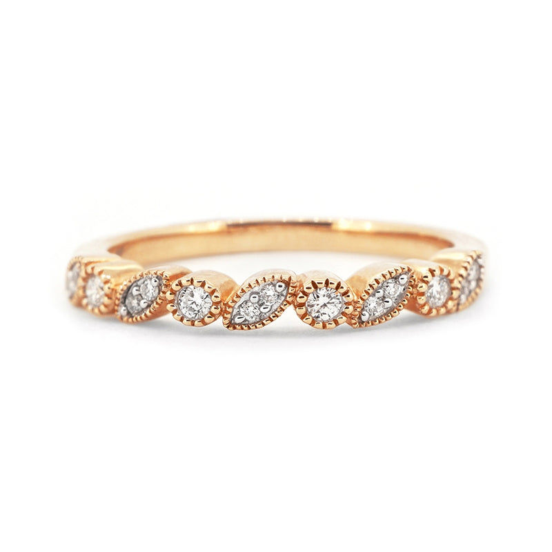 9ct Rose Gold Fancy Milgrain Diamond Band