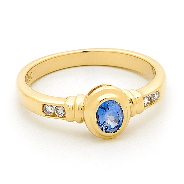 Oval Ceylon Sapphire with Diamonds