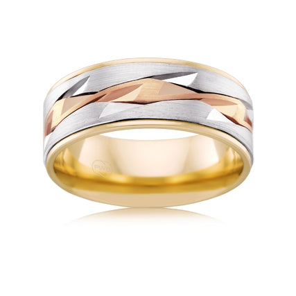 9ct Three-Tone Gold Gents Ring