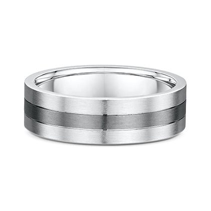 9ct White Gold & Titanium Wedding Band