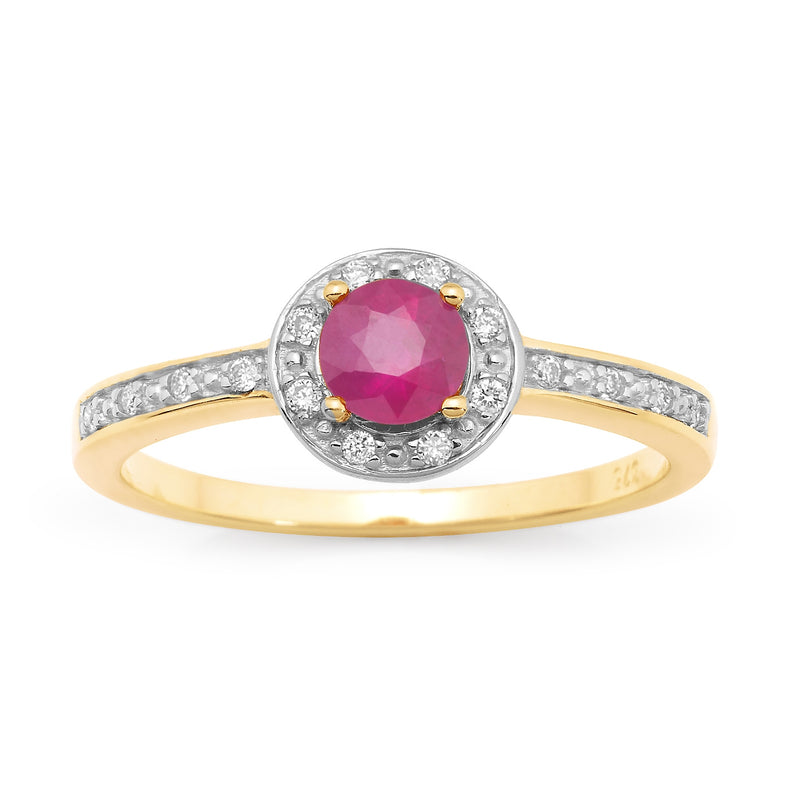 9ct Ruby & Diamond Dress Ring