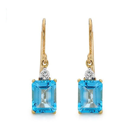 9ct Blue Topaz & Diamond Drop Earrings