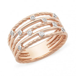 Rose Gold Multi Band with Diamonds