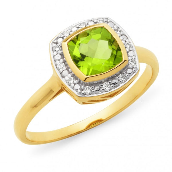 9ct Peridot and Diamond Halo Ring