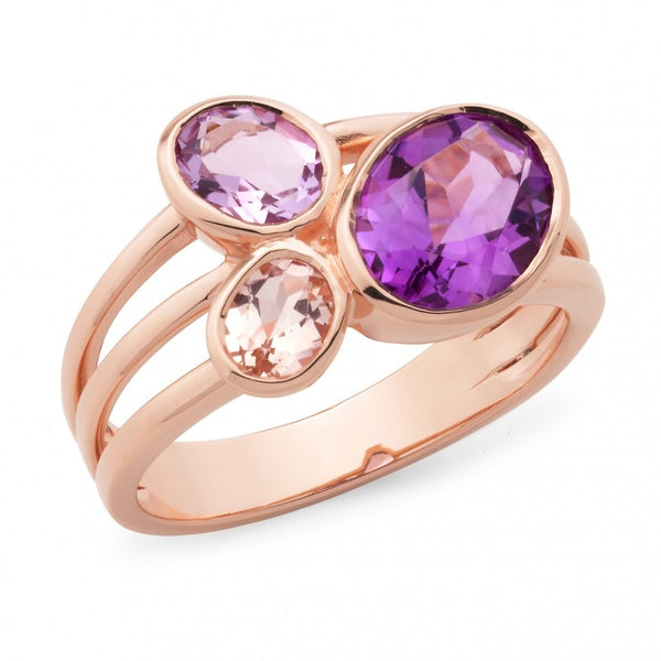 9ct Rose Gold Amethyst & Morganite Ring