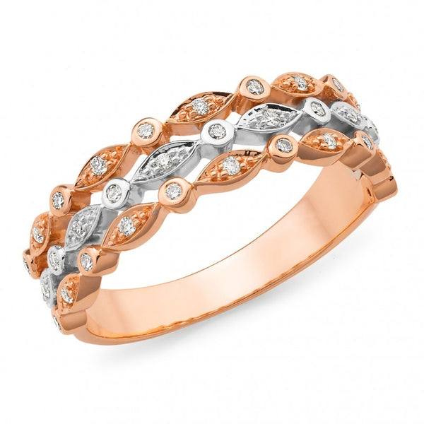 9ct Rose and White Gold Diamond Band