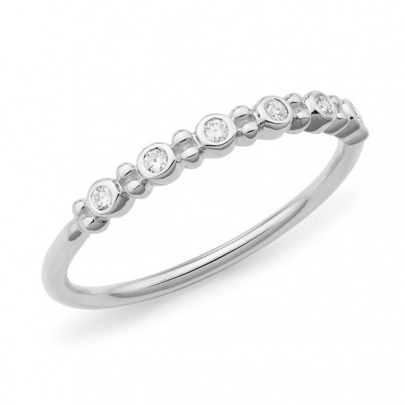 9ct White Gold Bezel Set Diamond Band