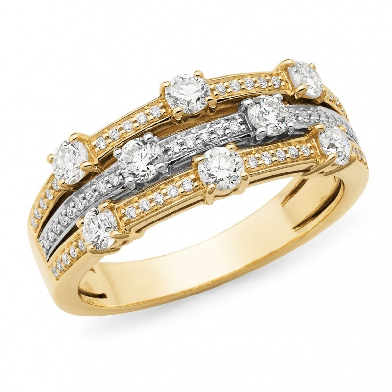 9ct Yellow and White Gold Diamond Ring