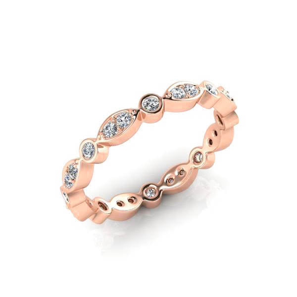 18ct Full Circle Leaf Style Diamond Band - Rose Gold