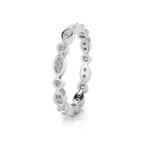 18ct Full Circle Leaf Style Diamond Band - White Gold