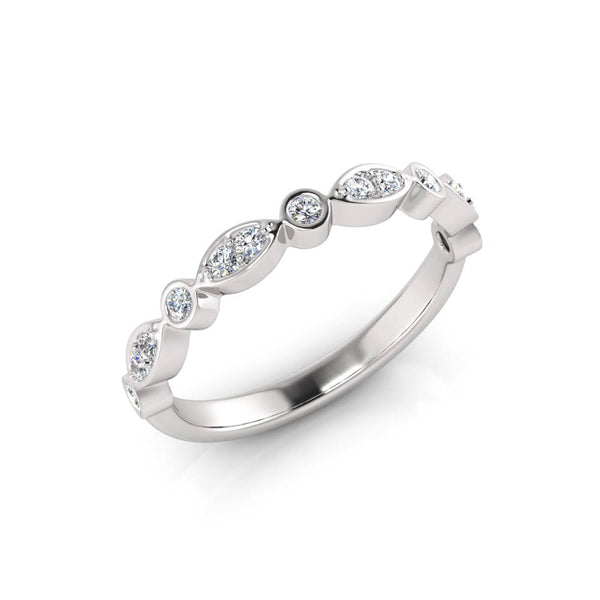 9ct Half-Set Leaf Style Diamond Band - White Gold