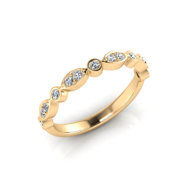 9ct Half-Set Leaf Style Diamond Band - Yellow Gold