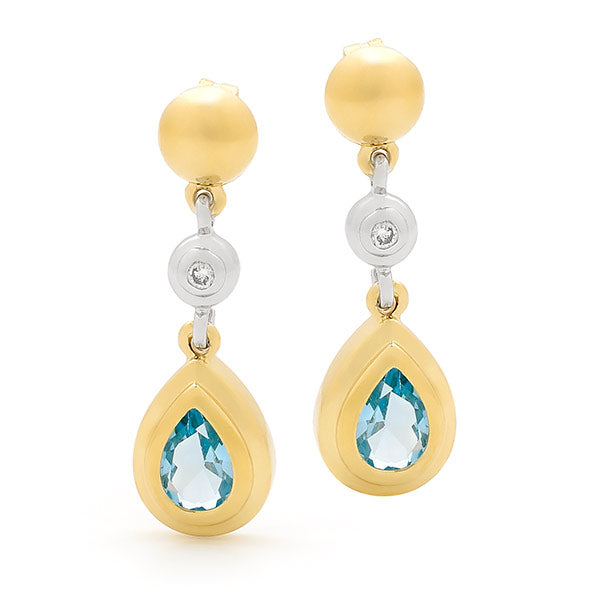 9ct Two-Tone Gold Topaz & Diamond Drop Earrings