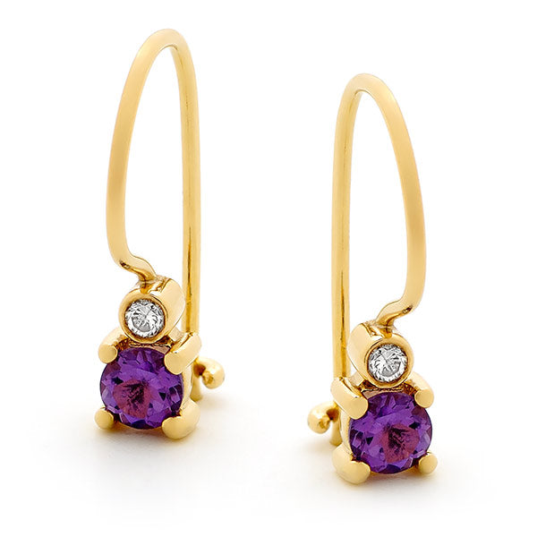 9ct Yellow Gold Amethyst & Diamond Drop Earrings