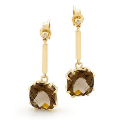 9ct Yellow Gold Smoky Quartz Drop Earrings