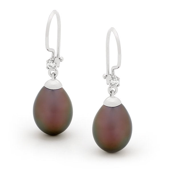 9ct White Gold Pearl Drop Earrings
