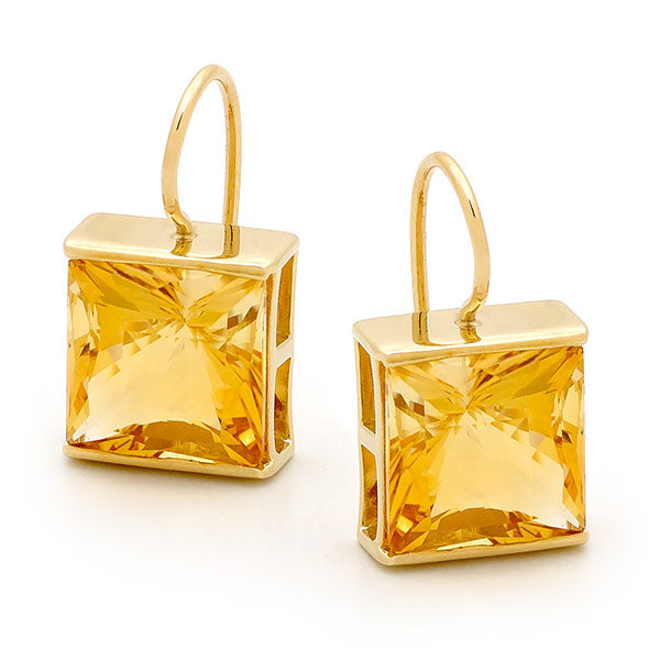 9ct Yellow Gold Square Citrine Drop Earrings