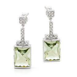 9ct White Gold Green Amethyst & Diamond Drop Earrings