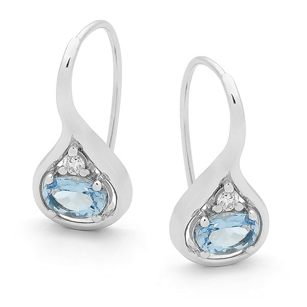 9ct White Gold Aquamarine & Diamond Drop Earrings