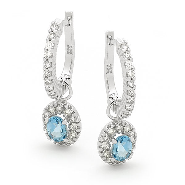 9ct White Gold Aquamarine & Diamond Huggie Earrings