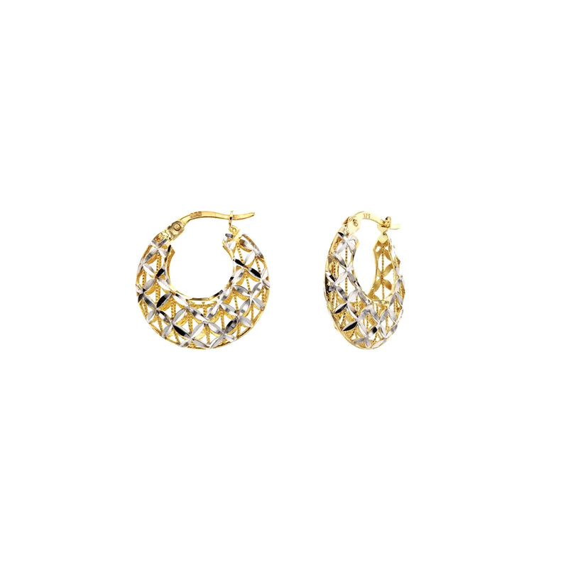 9ct Two-Tone Gold Fancy Hoop Earrings