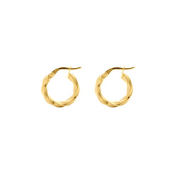 9ct Yellow Gold Twist Hoop Earrings - 10mm