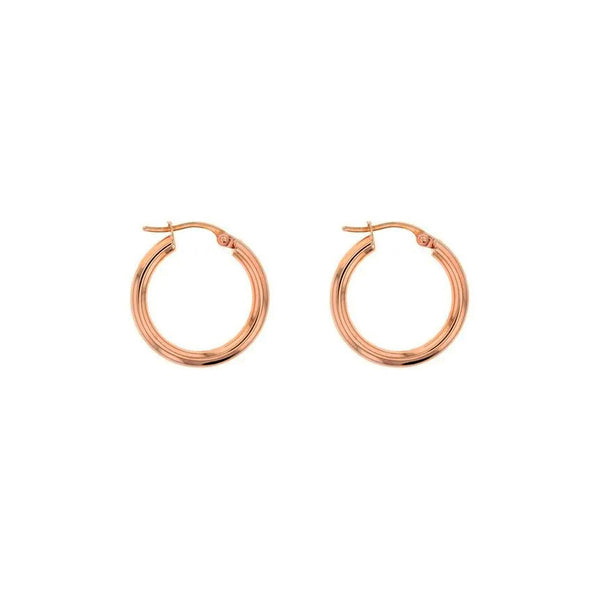 9ct Rose Gold Plain Hoop Earrings - 15mm