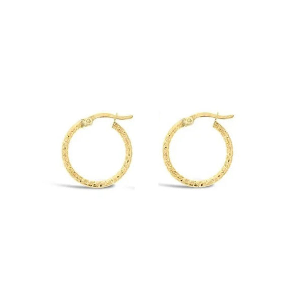 9ct Yellow Gold Fancy Hoop Earrings - 15mm