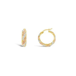 9ct Three-Tone Gold Fancy Hoop Earrings