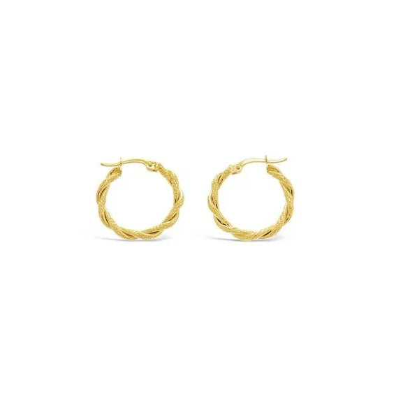 9ct Yellow Gold Twist Hoop Earrings - 15mm