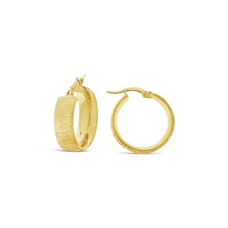 9ct Yellow Gold Brushed Hoop Earrings - 15mm