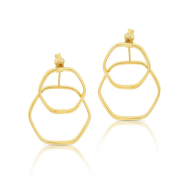 9ct Yellow Gold Double Hexagon Stud Drop Earrings