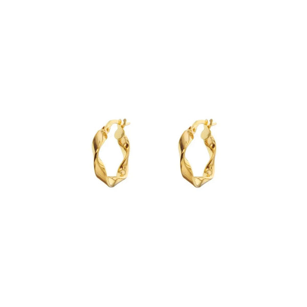 9ct Yellow Gold Twist Hoop Earrings - 12mm