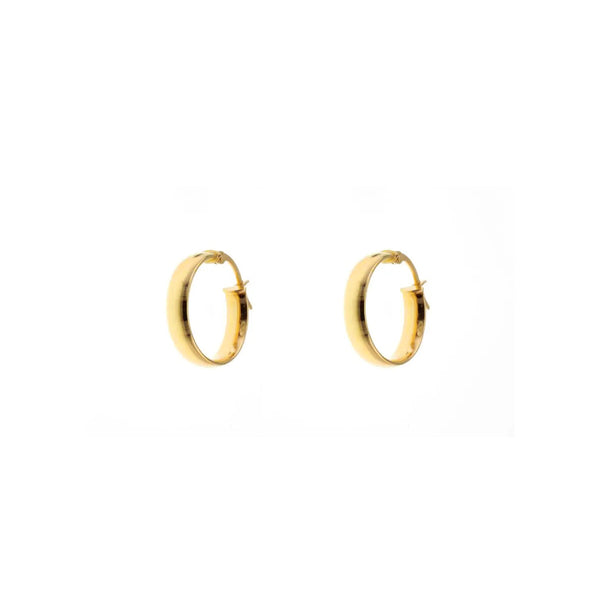 9ct Yellow Gold Half Round Hoop Earrings - 10mm