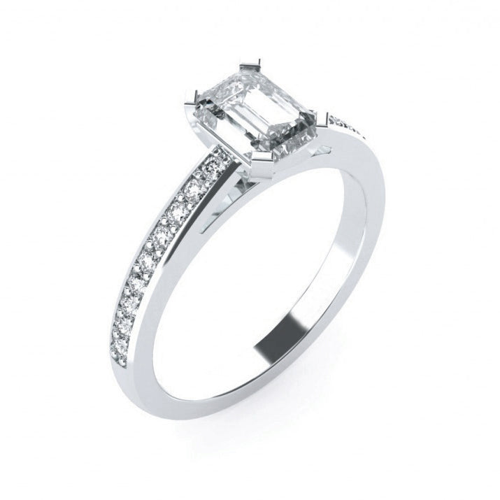 Emerald Cut with Diamond Set Band