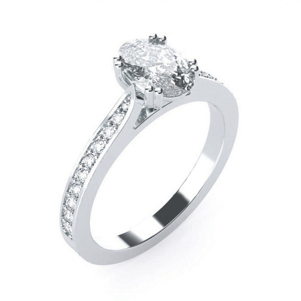 Double Claw Set Oval with Diamond Band