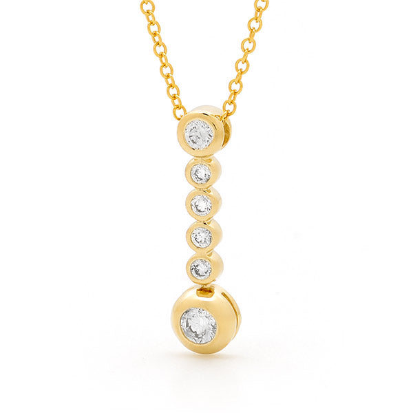 9ct Yellow Gold Diamond Drop Pendant