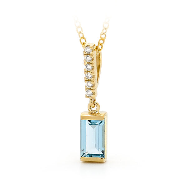 9ct Yellow Gold Blue Topaz & Diamond Drop Pendant