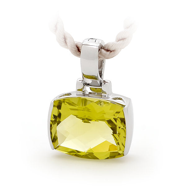 9ct White Gold Lemon Quartz Pendant