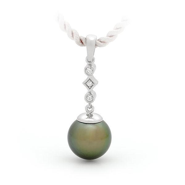 9ct White Gold Pearl & Diamond Drop Pendant